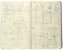 Pageview of the sketchbook of the series »Depot« [Storage] by Herbert Stattler.